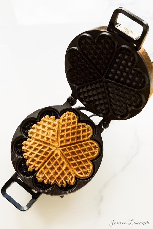 Multigrain waffles in the waffle maker   bakeschool.com