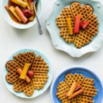 Multigrain waffles with tea-roasted rhubarb