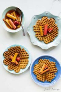 Multigrain waffles with roasted rhubarb | www.kitchenhealssoul.com