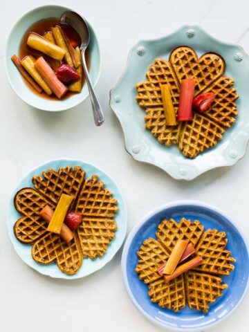Multigrain waffles with roasted rhubarb | bakeschool.com