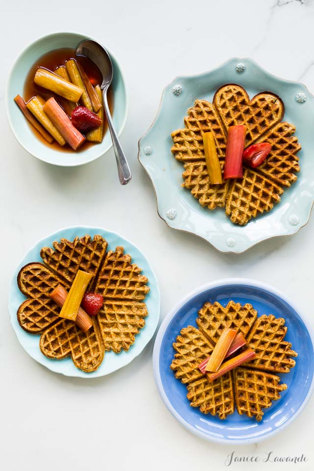 Multigrain waffles with roasted rhubarb   bakeschool.com