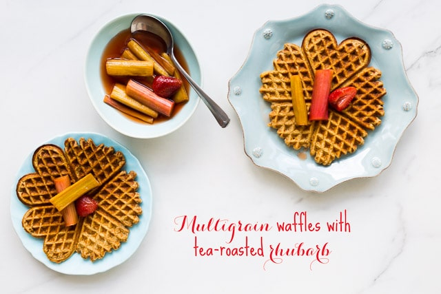 Multigrain waffles with tea-roasted rhubarb   bakeschool.com