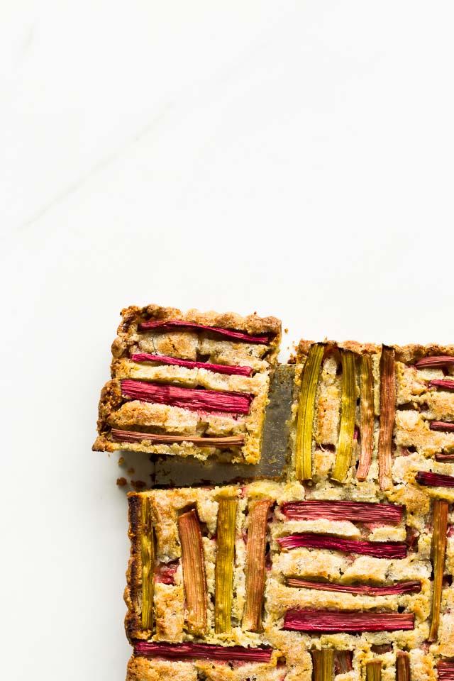 Rhubarb pumpkin seed cake sliced | kitchenhealssoul.com