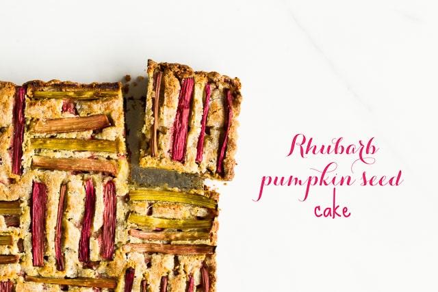 Rhubarb pumpkin seed cake with woven rhubarb pattern arrangement