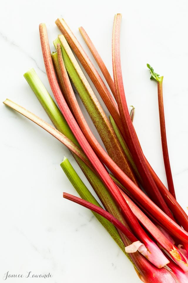 Fresh stalks of green and pink rhubarb