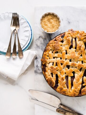 red wine-poached pear pie