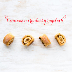 rugelach made with a cinnamon cranberry filling and cream cheese dough