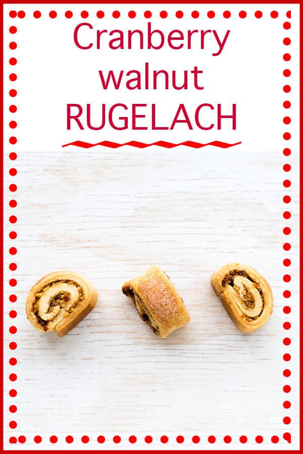 3 swirled cranberry walnut rugelach cookies with cranberry walnut rugelach text on top