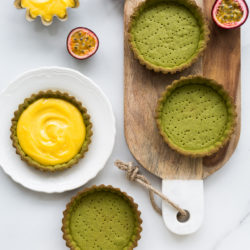 Matcha tarts with passionfruit curd