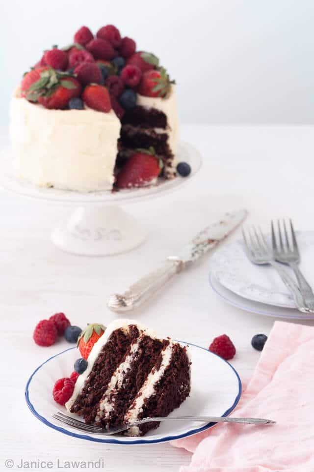 Berry-chocolate layer cake with cream cheese frosting