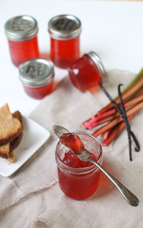 Best rhubarb recipes-Rhubarb vanilla bean jelly from Simple Bites