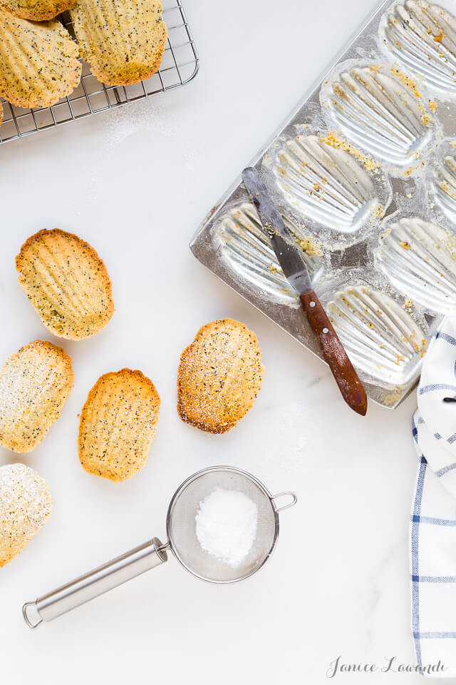 Brown butter lemon poppy seed madeleines