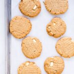 Chewy peanut butter cookies with white chocolate chunks from All The Sweet Things