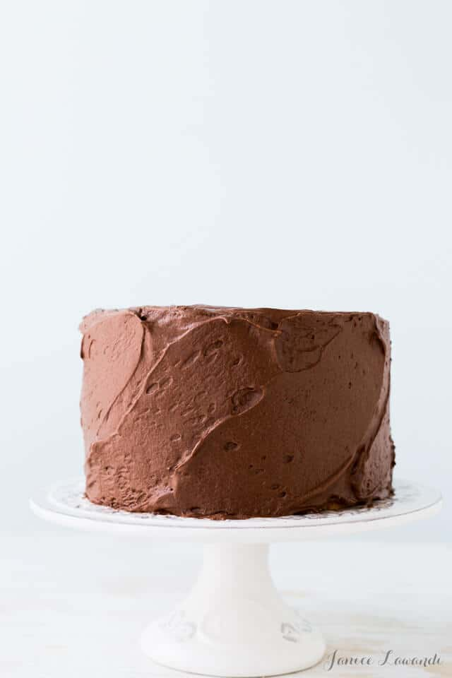 The classic birthday cake: frosted vanilla cake with milk chocolate frosting