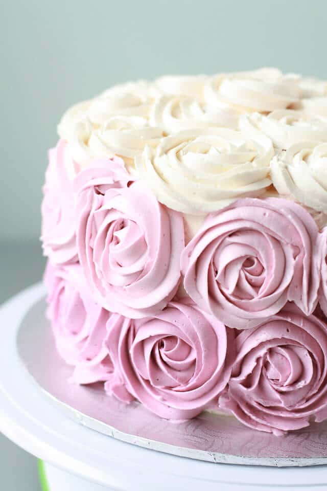 Italian Meringue Ercream Piped With 1m Wilton Tip To Make A Rose Cake