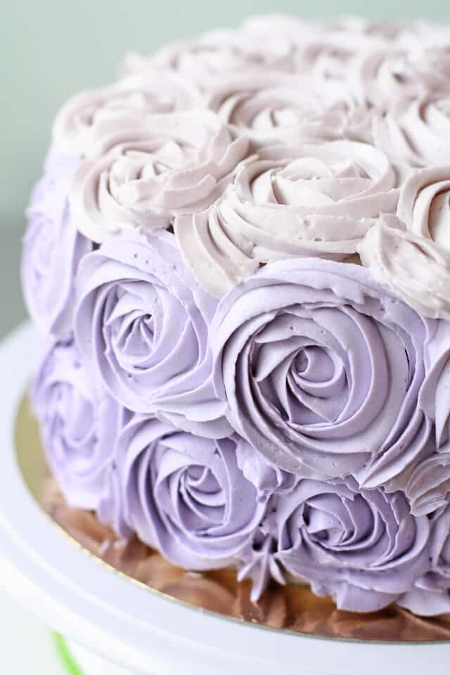 Italian meringue buttercream rose cake with lilac roses