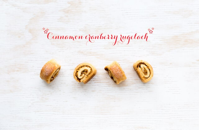 Rugelach stuffed with a mixture of cinnamon, sugar, vanilla, and walnuts