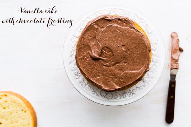 The classic birthday cake: Vanilla cake with milk chocolate frosting