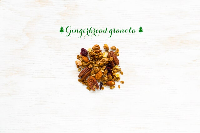 Gingerbread granola featuring oats, almonds, pecans, walnuts, dried cranberries, and chopped crystallized gigner
