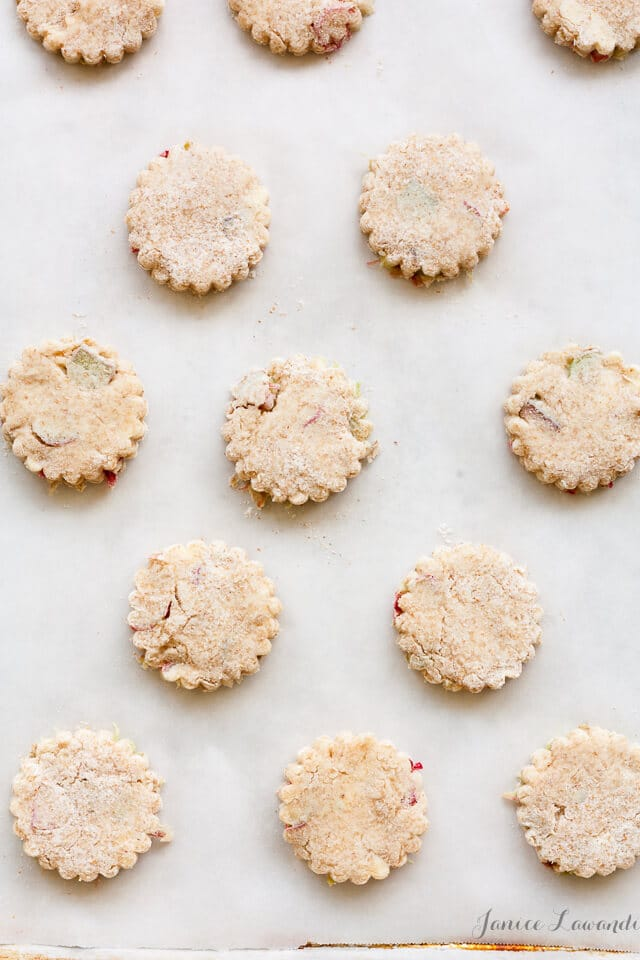 little rhubarb biscuits like tiny scones with rhubarb