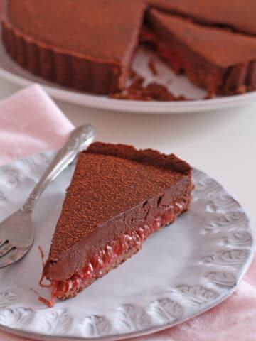 sliced roasted rhubarb tart with dark chocolate ganache