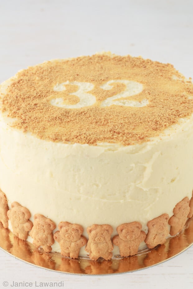 spice-cake with cream cheese frosting and cookie crumbs