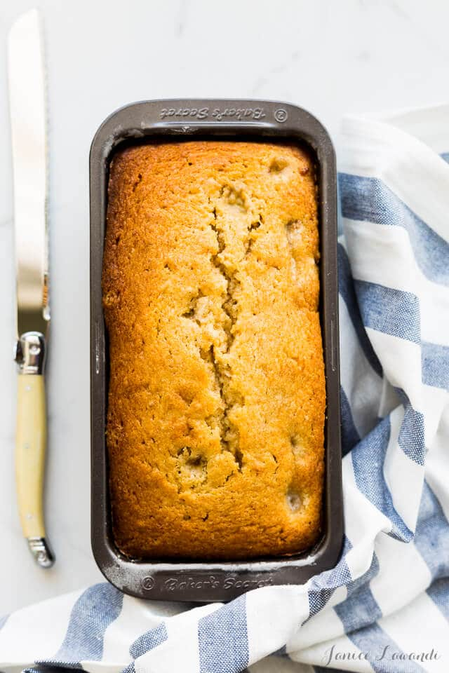 Banana and cardamom buttermilk cake fresh from the oven
