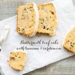 Banana and cardamom buttermilk cake sliced