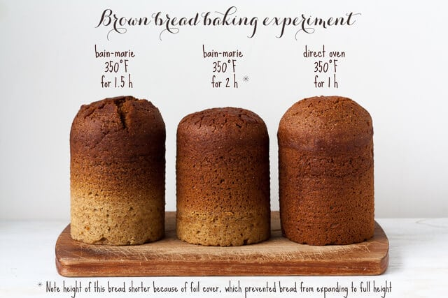 Brown bread baking experiment to compare steaming bain marie vs baking directly in the oven