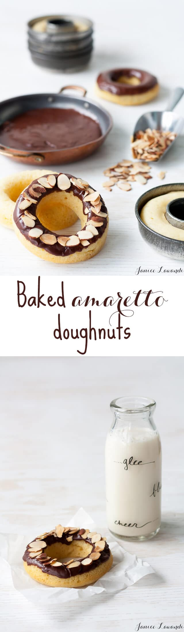 Chocolate-glazed baked amaretto doughnuts made with Almond Breeze