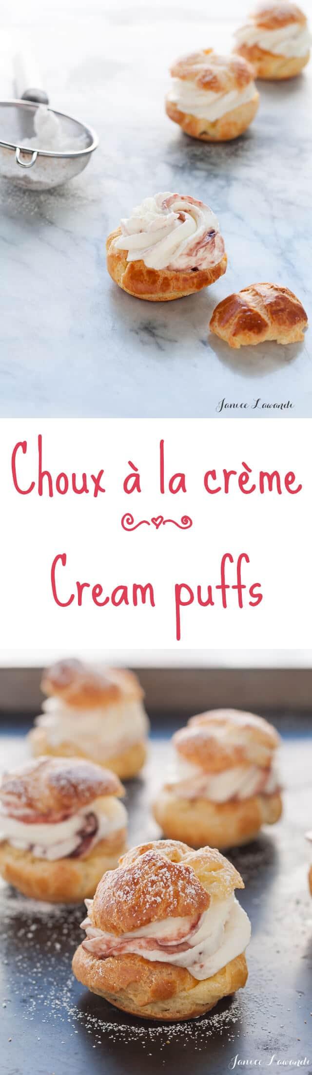 Choux à la crème are cream puffs essentially pâte à choux puffs filled with whipped cream