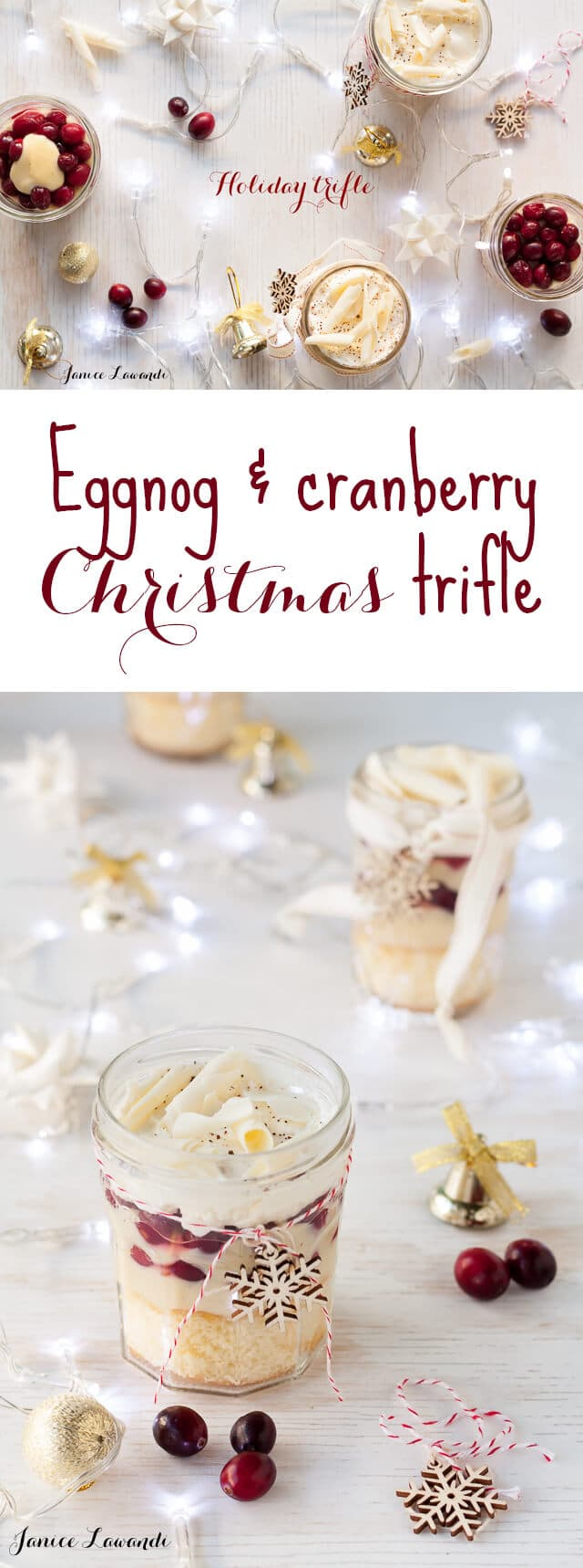 This eggnog & cranberry Christmas trifle is the perfect holiday dessert and you can make it ahead! Layers of homemade spongecake, eggnog pastry cream, and poached cranberries make quite the festive dessert.