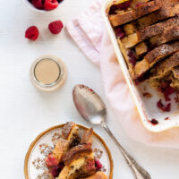 Coffee-raspberry bread pudding