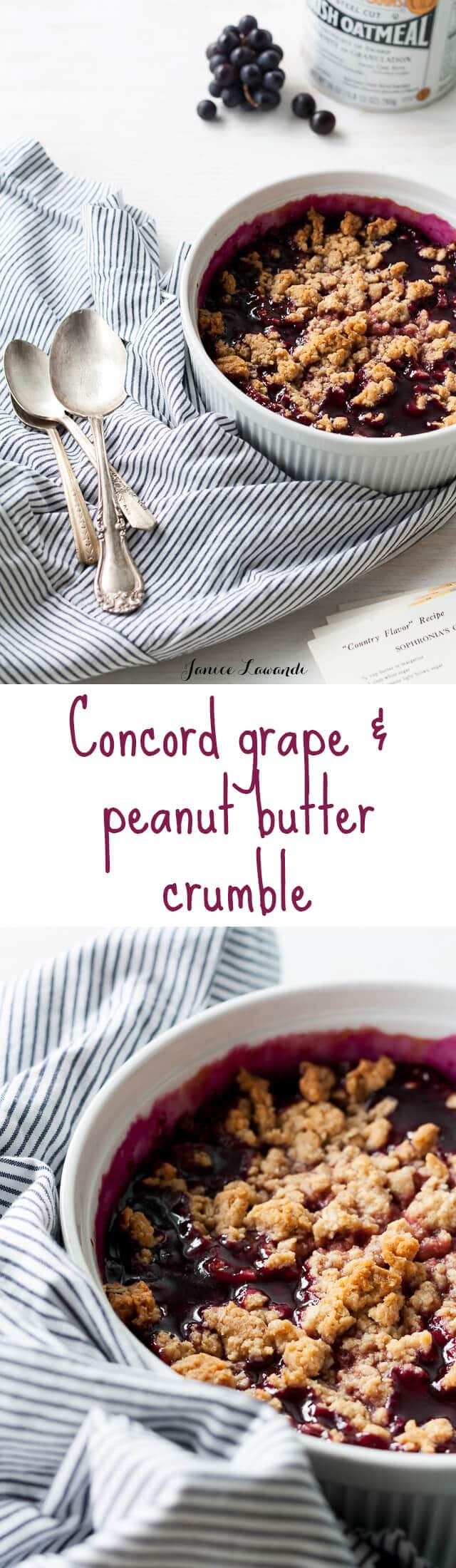 Concord grape and peanut butter crumble like a peanut butter and jelly crumble recipe