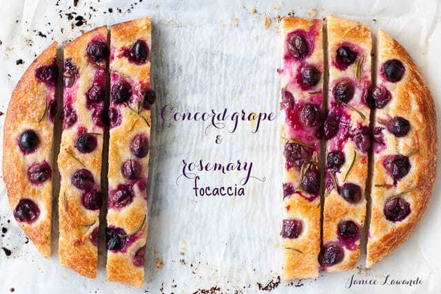 Concord grape and rosemary focaccia sliced