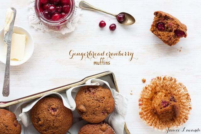 Gingerbread muffins with poached cranberries