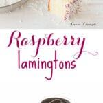Homemade raspberry lamingtons made with fresh raspberry purée and shredded coconut