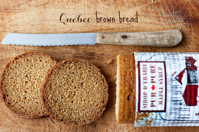 Quebec brown bread baked in a can and sliced