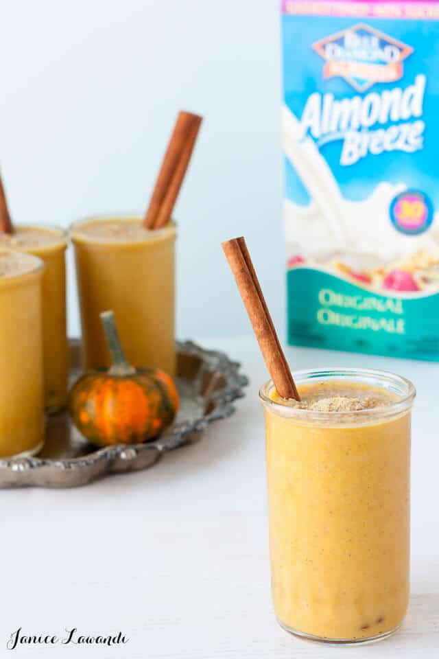 Glasses of vegan Pumpkin pie shake made with Almond Breeze