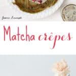 matcha crêpes with fresh raspberries and homemade black sesame pastry cream