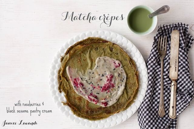 matcha crepes with black sesame pastry cream, raspberries