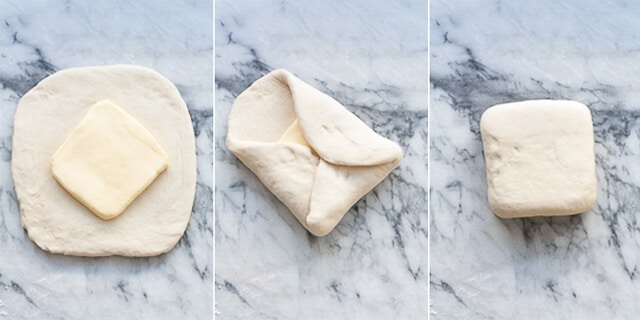 Collage of photos to show the wrapping of butter block in dough to begin the lamination process for croissants