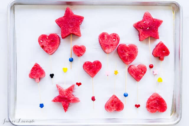Watermelon shapes for parties ready to be frozen into frozen watermelon pops