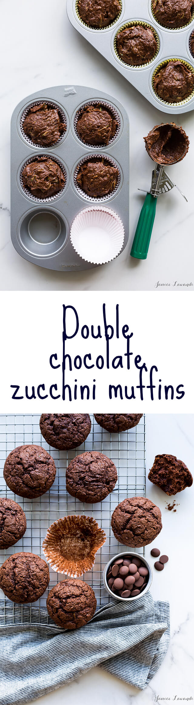 Double chocolate zucchini muffins made with whole wheat flour, lots of cinnamon, and Cacao Barry chocolate for the perfect back-to-school snack