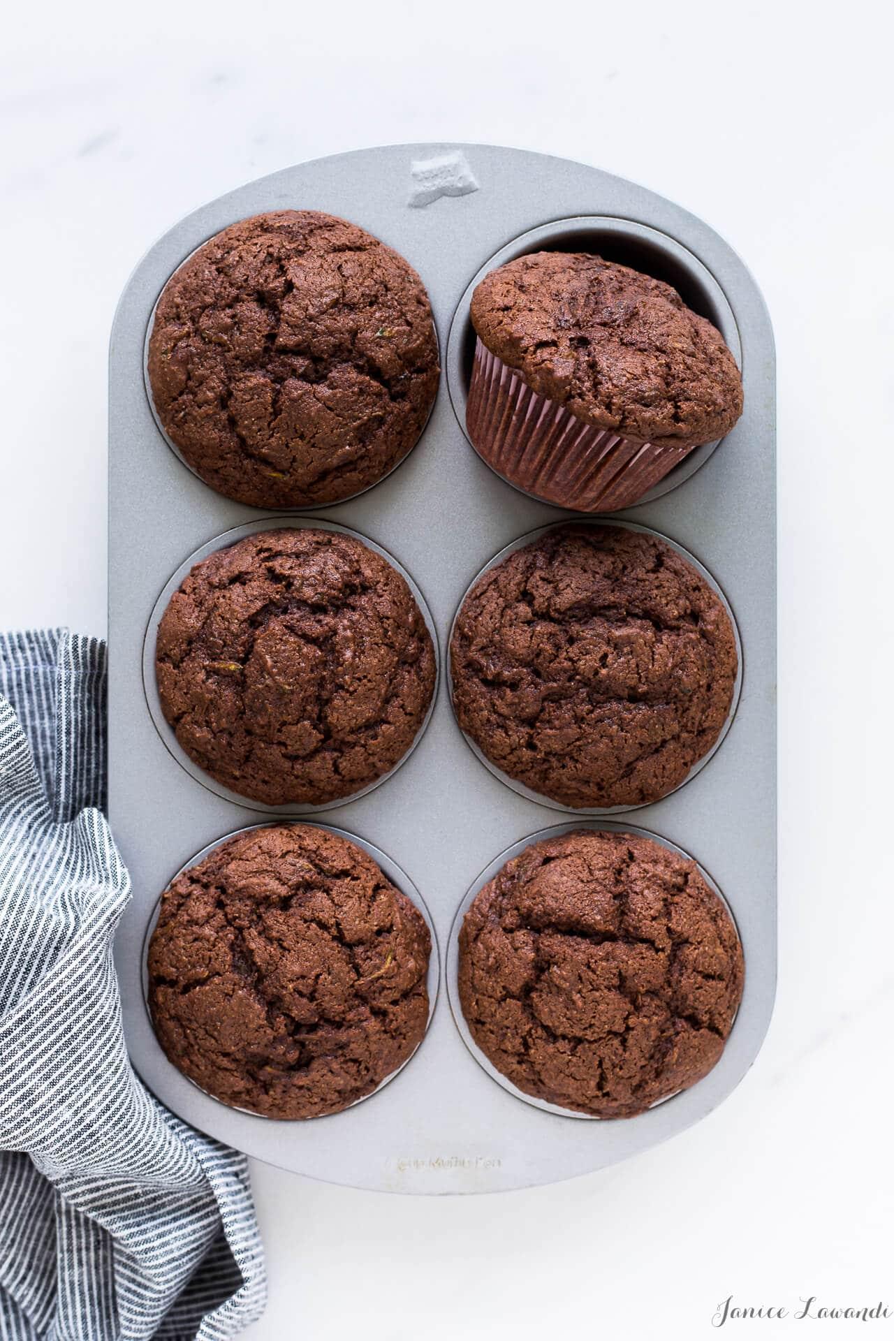 Zucchini chocolate muffins baked