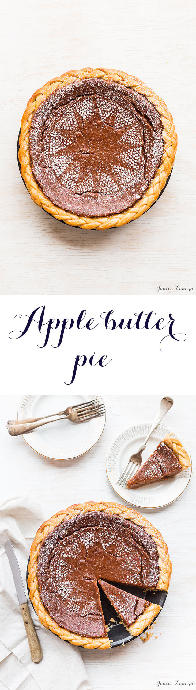 Apple butter pie recipe that is a great pumpkin pie alternative for Thanksgiving made with an all butter crust and apple butter filling
