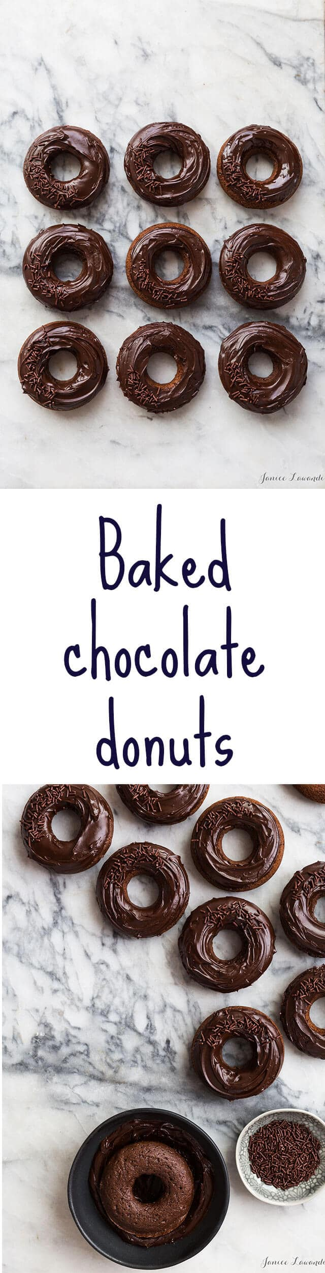 Glazed Chocolate Cake Donuts that are baked donuts, not fried! Easy recipe to make baked chocolate donuts at home. All you need is a donut pan. These chocolate donuts have a dark chocolate glaze.