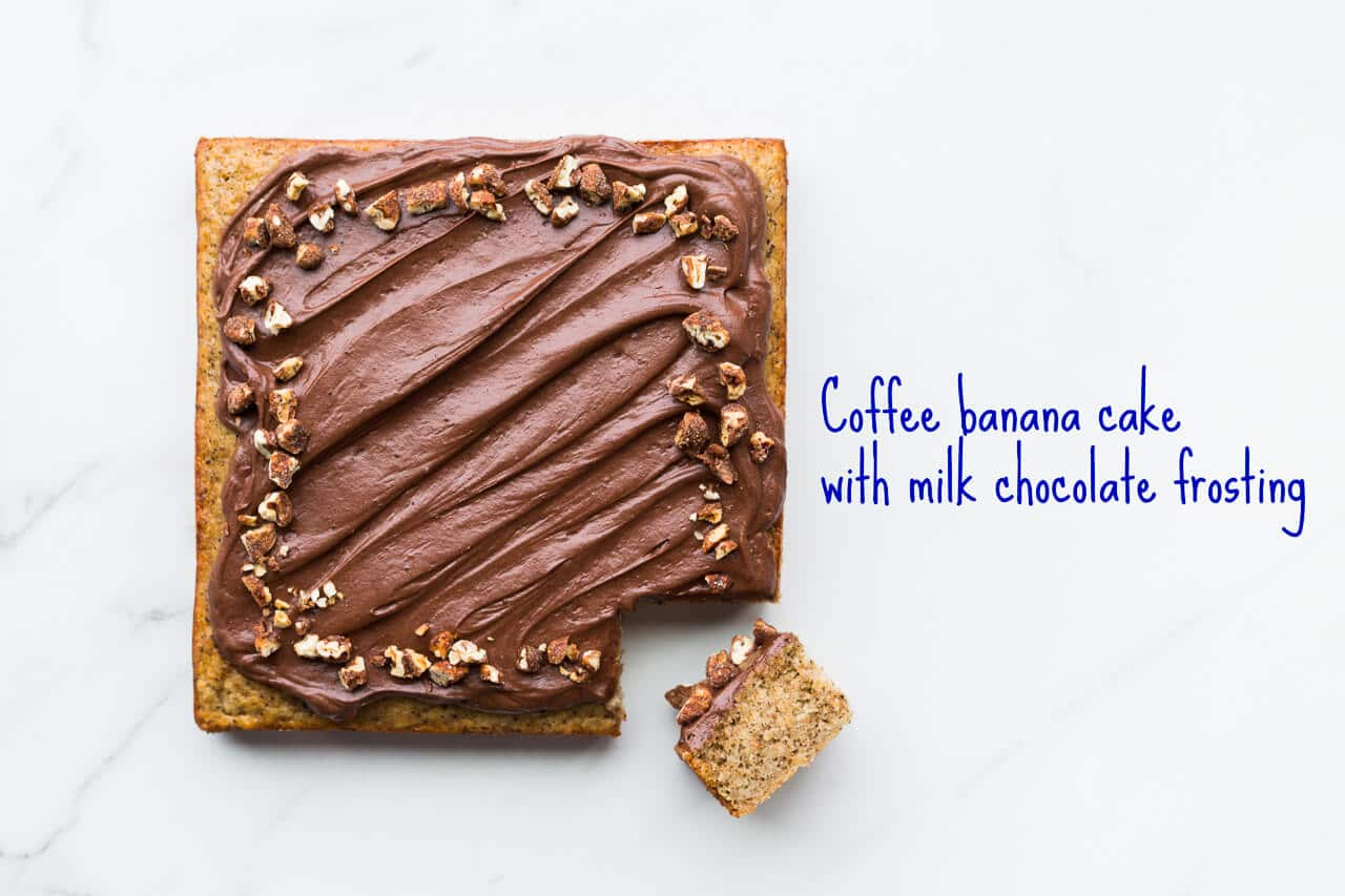 Coffee banana cake is a banana snacking cake flavoured with coffee and topped with milk chocolate frosting