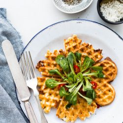 Cheese waffles made with egg whites