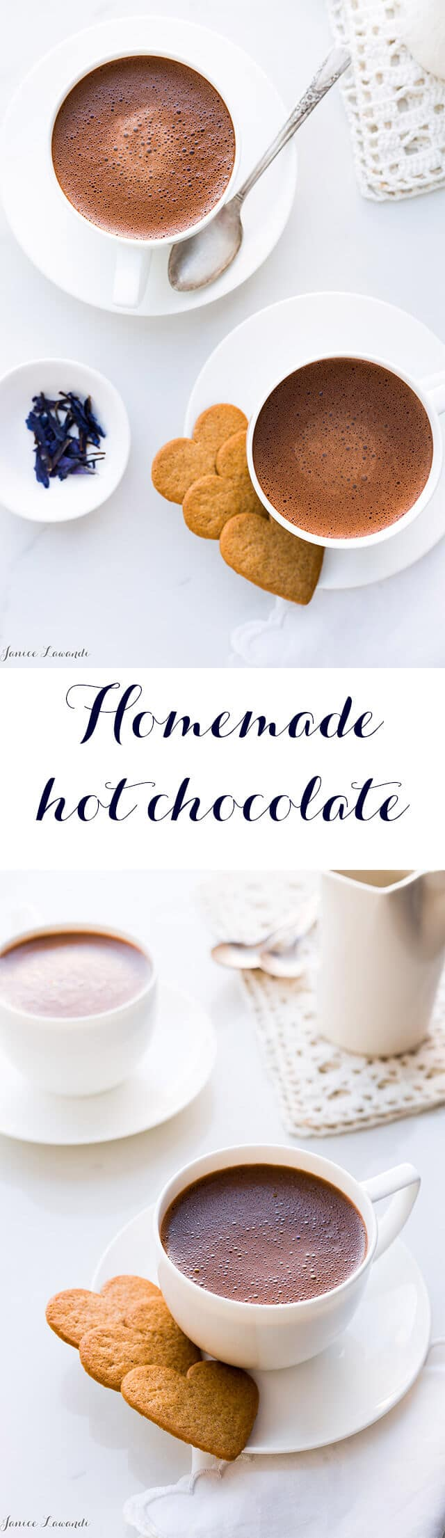 Real hot chocolate made from dark chocolate and milk is easy to make and takes just 5 minutes. Only two ingredients in the recipe, unless you want to flavour it or jazz it up.